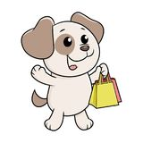 Puppy met het winkelen zakken Stock Foto