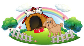 A puppy near a wooden doghouse with bone. Illustration of a puppy near a wooden doghouse with bone on a white background Royalty Free Stock Photos