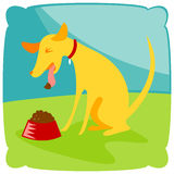 Puppy No Like. Puppy spitting his icky food back out into the bowl Stock Illustration