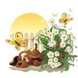 Puppy onder bloemen en vlinders Royalty-vrije Stock Fotografie