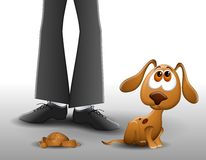 Puppy Pooped on The Floor 2. An illustration featuring a sad looking puppy who has pooped on the floor with owner standing above to illustrate the topic of Royalty Free Stock Photos