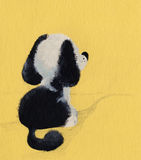 Puppy on road. Drawing black and white puppy on yellow background royalty free illustration