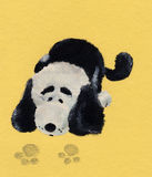 Puppy on road. Drawing black and white puppy on yellow background vector illustration