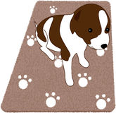 Puppy on rug. Cute little puppy on brown rug. Want to adopt him Stock Photo