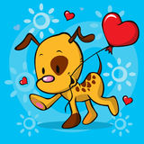 Puppy running with balloon - vector illustration Stock Images