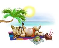 Puppy sunbathes royalty free illustration