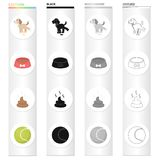 A puppy to urinate, a bowl with food, a pile of feces, a toy ball. The puppy set collection icons in cartoon black. Monochrome outline style vector symbol stock Royalty Free Stock Images