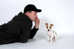 Puppy Training. A man trying to train his new puppy stock photos