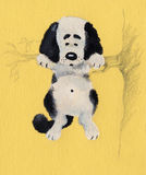 Puppy on tree stock photo