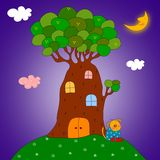 Puppy under the tree. Colorful graphic illustration for children Stock Photos