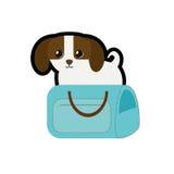 puppy weinig honds aanbiddelijke blauwe reis van de huisdierenboodschappentas royalty-vrije illustratie