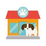 puppy weinig honds aanbiddelijke de pootdruk van de dierenwinkelvoorgevel stock illustratie
