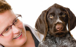 Puppy and woman Royalty Free Stock Photography
