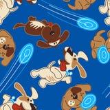 Puppyhonden die in een naadloos patroon spelen Stock Foto