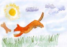 Puppyhop Waterverfhand getrokken illustratie Royalty-vrije Stock Afbeelding