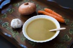 Purè della carota e dello zucchini schiacciati Immagini Stock