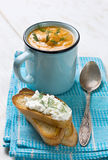 Purè della minestra di piselli Fotografie Stock