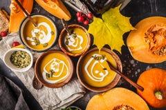 Purè della minestra della zucca di autunno con crema in tazze, il paesaggio di autunno immagine stock libera da diritti