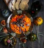 Purè della zucca con carne secca Fotografie Stock
