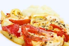 Purè di patate primo piano ed omelette di verdure Fotografie Stock