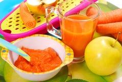 Puré da cenoura e da maçã para o bebê Fotografia de Stock Royalty Free