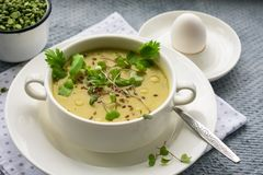 Puré da sopa de ervilha verde fotografia de stock