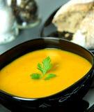 Puré de la sopa de la calabaza Ciérrese encima de la visión Imagen de archivo
