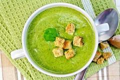 Puré de la sopa con las galletas y la cuchara en servilleta Imagen de archivo