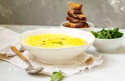 Puré del queso y de la sopa de verduras Foto de archivo libre de regalías