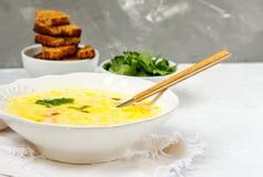 Puré del queso y de la sopa de verduras Fotografía de archivo libre de regalías