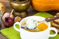 Puré dietético da sopa com arroz, cenouras e abóbora foto de stock