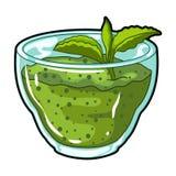 Puré fresco dos verdes com uma folha da hortelã Café da manhã do vegetariano dos verdes Os pratos de vegetariano escolhem o ícone Fotos de Stock