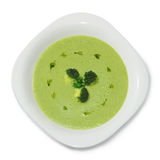 Puré poner crema de la sopa de la opinión de guisantes verdes del top Foto de archivo libre de regalías