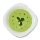 Purée crème de soupe de vue de pois à partir du dessus Photo libre de droits