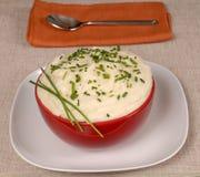 Purée de pommes de terre avec la ciboulette dans une cuvette rouge photo stock