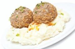 Purée de pommes de terre et boulettes de viande Photo stock