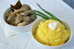 Purée de pommes de terre et champignons d'huître marinés Images libres de droits