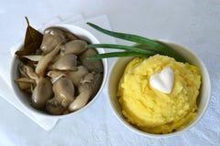 Purée de pommes de terre et champignons d'huître marinés Photographie stock libre de droits