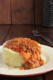 Purée de pommes de terre, sauce au jus des lentilles et légumes Photographie stock
