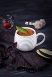Purée végétarienne de soupe avec l'aubergine, les tomates, la courgette et l'ail sur un fond en bois foncé L'espace libre Photographie stock libre de droits