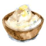 Purés de patata en un plato profundo con una rebanada de mantequilla y de hierbas Ejemplo dibujado mano de la acuarela Aislado Ve fotografía de archivo libre de regalías