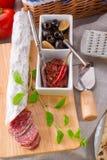 Pur porc salami and antipasti Stock Image