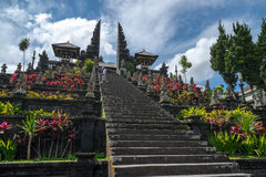 Pura Besakih in Bali. BALI, INDONESIA - 19TH JUNE 2015; Staircase to temple in Pura Besakih during the religious ceremony on June 19, 2015 at Bali, Indonesia Stock Photo