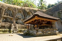 Pura Gunung Gawi Temple. Gunung Kawi is an 11th-century temple and funerary complex in Tampaksiring:180 north east of Ubud in Bali, Indonesia., that is spread Royalty Free Stock Photo
