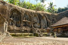Pura Gunung Gawi Temple. Gunung Kawi is an 11th-century temple and funerary complex in Tampaksiring:180 north east of Ubud in Bali, Indonesia., that is spread Royalty Free Stock Images