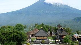 Pura Lempuyang temple with Mount Agung in the background in Bali, Indonesia stock footage