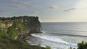 Pura Luhur Uluwatu. Bali Indonesia,it is constructed in 1633, Panoramic view in time sunset stock video footage