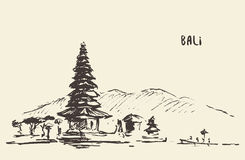 Pura Ulun Danu Bratan Hindu temple Bali Indonesia. Pura Ulun Danu Bratan, Hindu temple on Bratan lake, Bali, Indonesia, vintage engraved illustration, hand Stock Photography