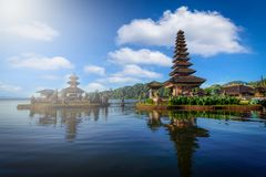 Pura Ulun Danu Bratan, Hindu temple with boat in Bratan lake lan Royalty Free Stock Image