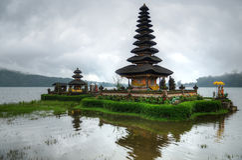 Pura Ulun Danu Bratan, Hindu temple on Bratan lake, Bali, Indonesia.  stock photography